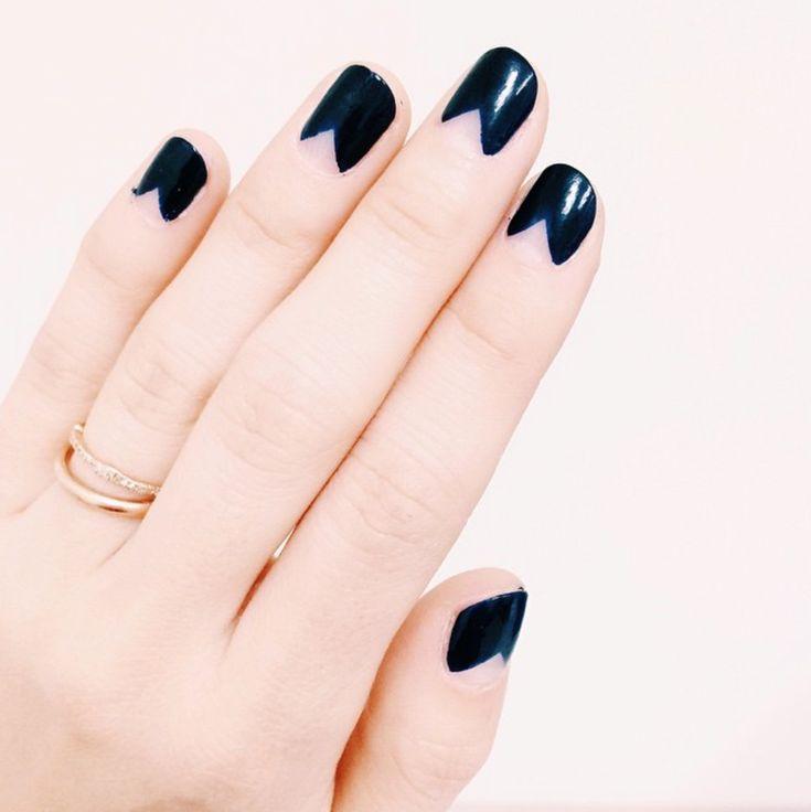 Navy Triangle Half Moon Manicure DIY Nails