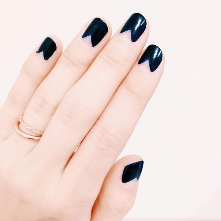 Navy Triangle Half Moon Manicure DIY Nails