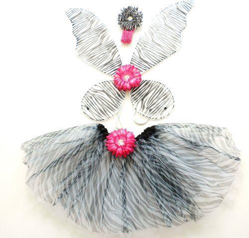 Girls Zebra Fairy Costume with Pixie Wings Zebra & Hot-pink Flower Head Band and Zebra Tutu Lil Princess, http://www.amazon.com/dp/B0047IHAU4/ref=cm_sw_r_pi_dp_p5Itqb1RRWRAH