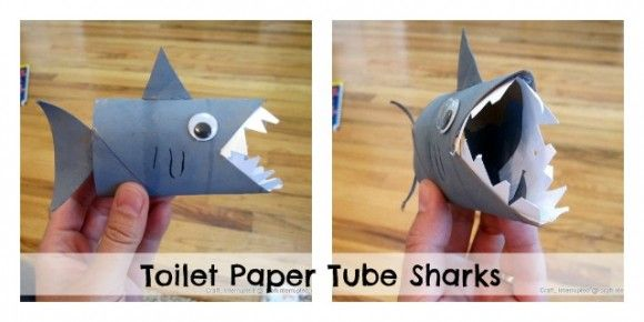 Make a Toilet Paper Tube Shark Puppet