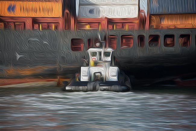 tug and ship in Oakland port