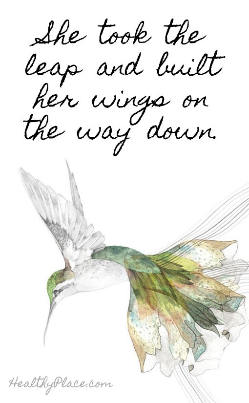 Quote about self-confidence - She took the leap and built her wings on the way down.