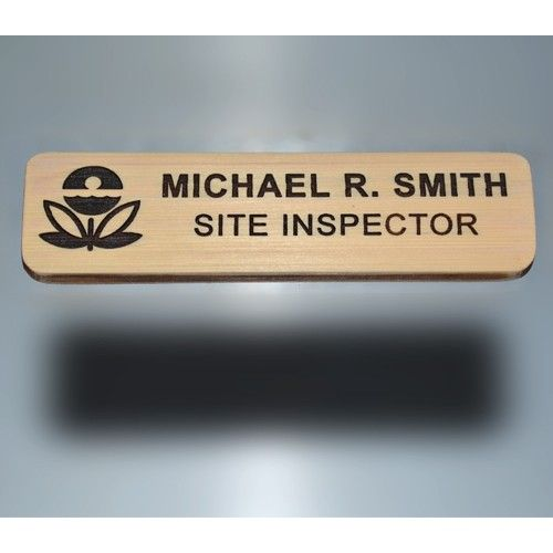 Laser engraved bamboo name badge, custom name, title and logo included in price.