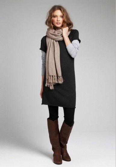 black dress black tights brown boots taupe scarf