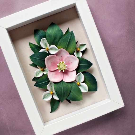 Pink Flower Spring Decor Pastel Wall Art Mother S Day Gift Small Gift Idea Hellebore And Trillium Woodland Decor 3d Paper Quilling Paper Flowers 3d Paper Flowers Spring Decor