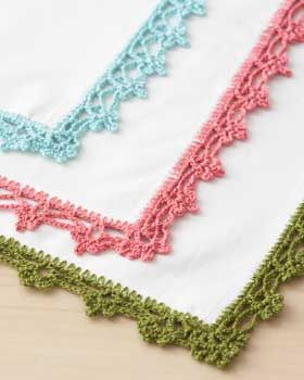 Give your napikins, tea towels, table cloths, pillow cases, clothing etc. a personal touch with these quick lace napkin borders! FREE Pattern
