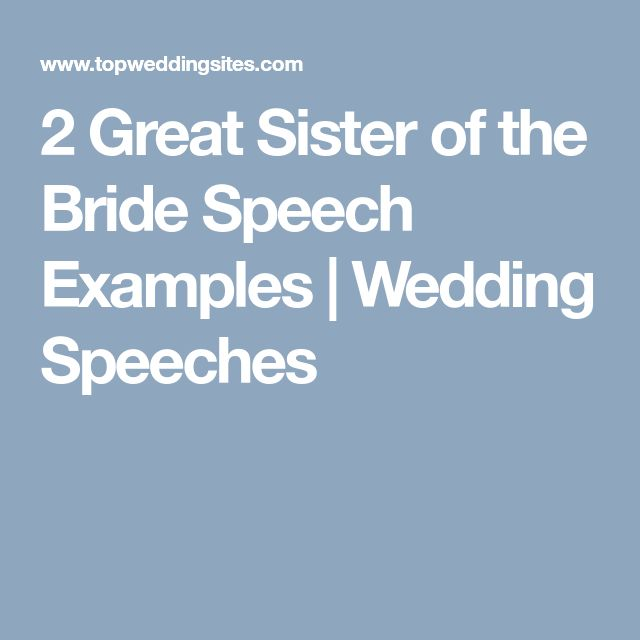 2 Great Sister Of The Bride Speech Examples