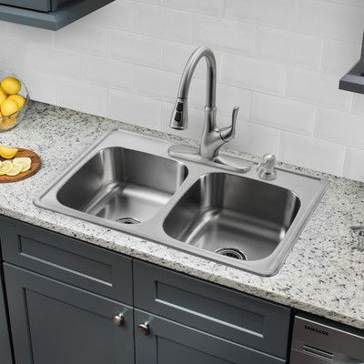 "Soleil 33"" x 22"" Double Bowl Drop-In Stainless Steel Kitchen Sink with Faucet"