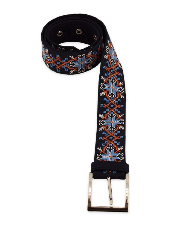 Embroidered belt with skittish design