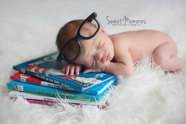 Sweet Memories Photos by Carolyn | Quakertown Bucks County PA newborn baby photographer bookworm newborn pose, Dr. Suess