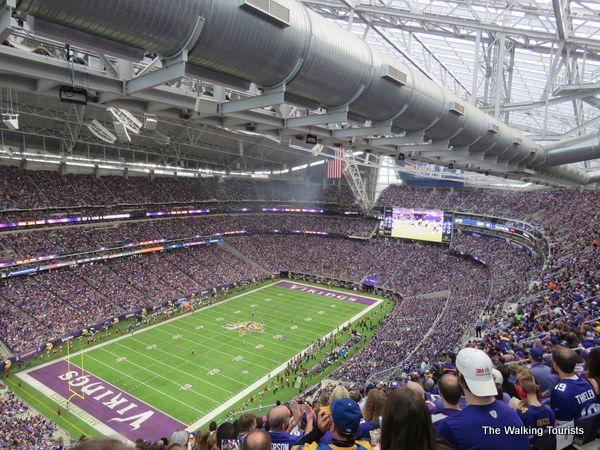 Enjoying a Minnesota Vikings game at US Bank Stadium