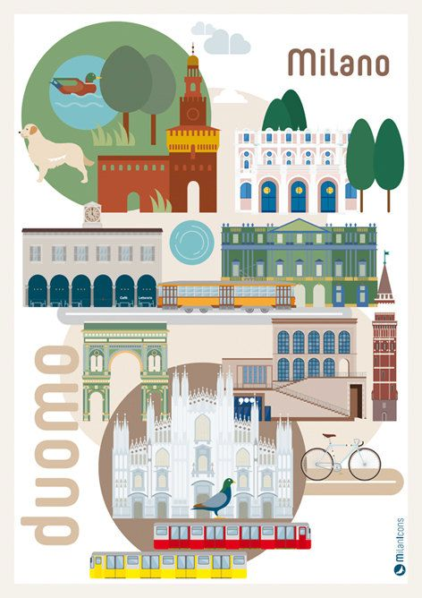 Poster Duomo Milano illustrated by Milan Icons size A3