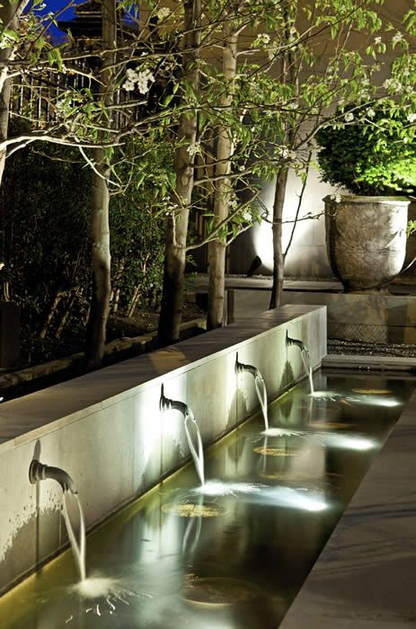 Beautiful water feature and outdoor lighting design. Love the lap pool. The strategic positioning of the olive pot is gorgeous.