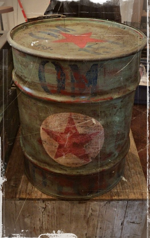 Vintage motor oil barrel