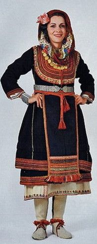 Traditional festive costume from Greek Thrace.  Clothing style: early 20th century.  This is a (good) recent workshop-made copy, as worn by folk dance groups.