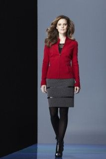 Cranberry jacket, black top and black skirt. #avantgarde #tribalsportswear #fall2014 #fallstyle #fallfashion #fashion
