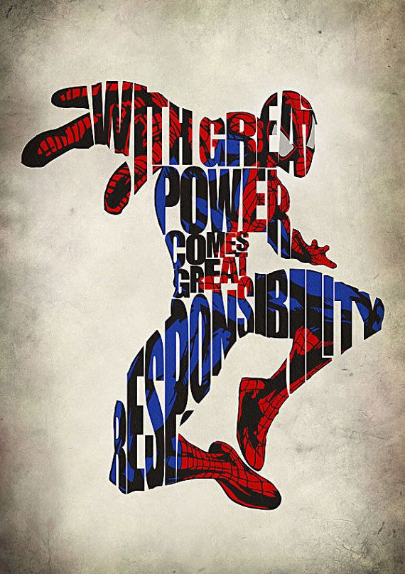 SpiderMan Inspired Minimalist Typographic Print and by GeekMyWalL, $25.00
