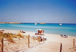 I love the beach at Formentera, Ibiza. Legend has it that they filmed the Bounty advert here. The water is amazing, I highly recommend it!