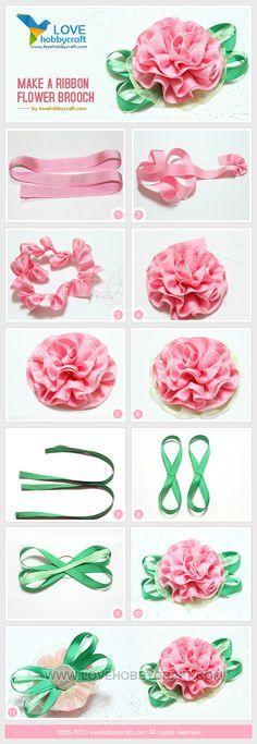 Make a ribbon flower brooch