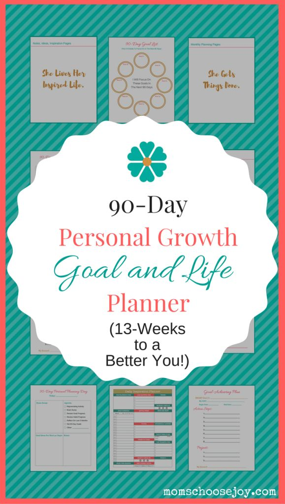 Did you know that 90-Days (or 13-weeks) has been shown to be the sweet spot for goal-achieving success? The reason for this is that you can easily envision what you can get done in a 90-Day period. When you can clearly envision your future success, you are more likely to be successful. This 90-Day Personal Growth Goal and Life Planner will put on the path to finally live the life you deserve. Click for more information.