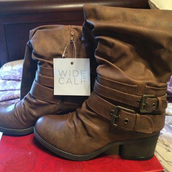 Beautiful wide calf boot Beautiful wide calf boot-Cognac color Carlos Santana Shoes Heeled Boots
