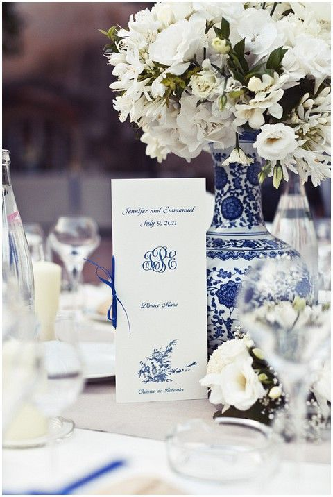 Blue white wedding tabletop.