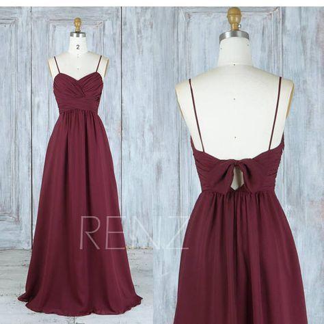 Party Dress Wine Chiffon Bridesmaid Dress,Wedding Dress,Ruched V Neck Maxi Dress,Spaghetti Straps Prom Dress Bow Tie,A-Line Ball Gown(L398)