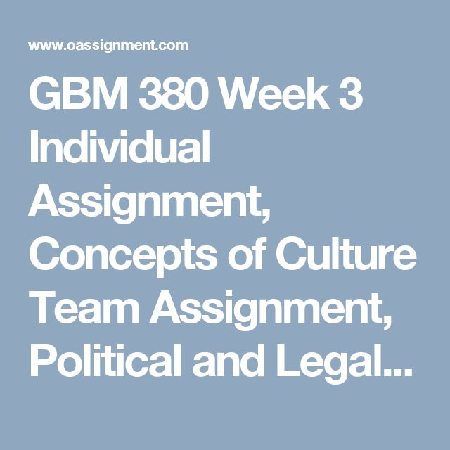 GBM 380 Week 3  Individual Assignment, Concepts of Culture  Team Assignment, Political and Legal Systems  Discussion Question 1 and 2