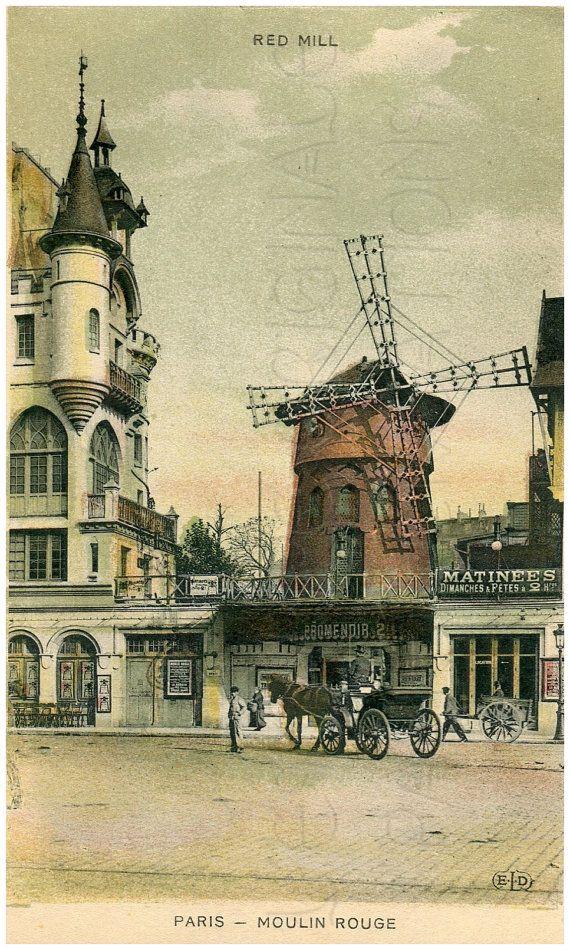 Vintage Moulin Rouge Paris   Download, Red Mill, Moulin Rouge, Dance Hall, Montmartre, Paris ...