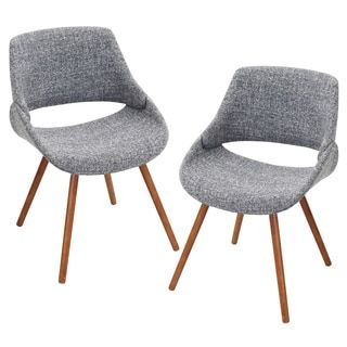 shop for pair of fabrico mid century modern chairs in walnut wood get free shipping