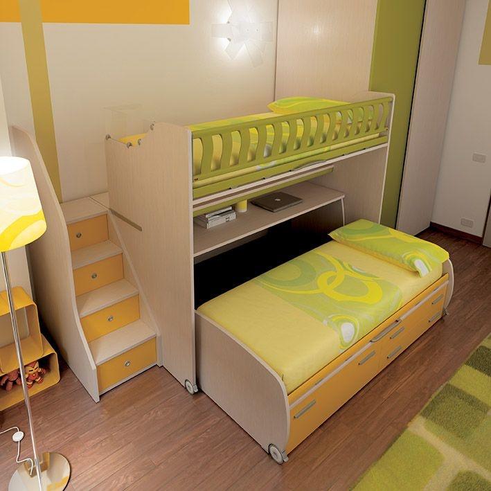 KS15 soppalco Level Smart con letto Space inferiore estraibile con un cestone e due cassetti. Team for Kids www.moretticompact.com