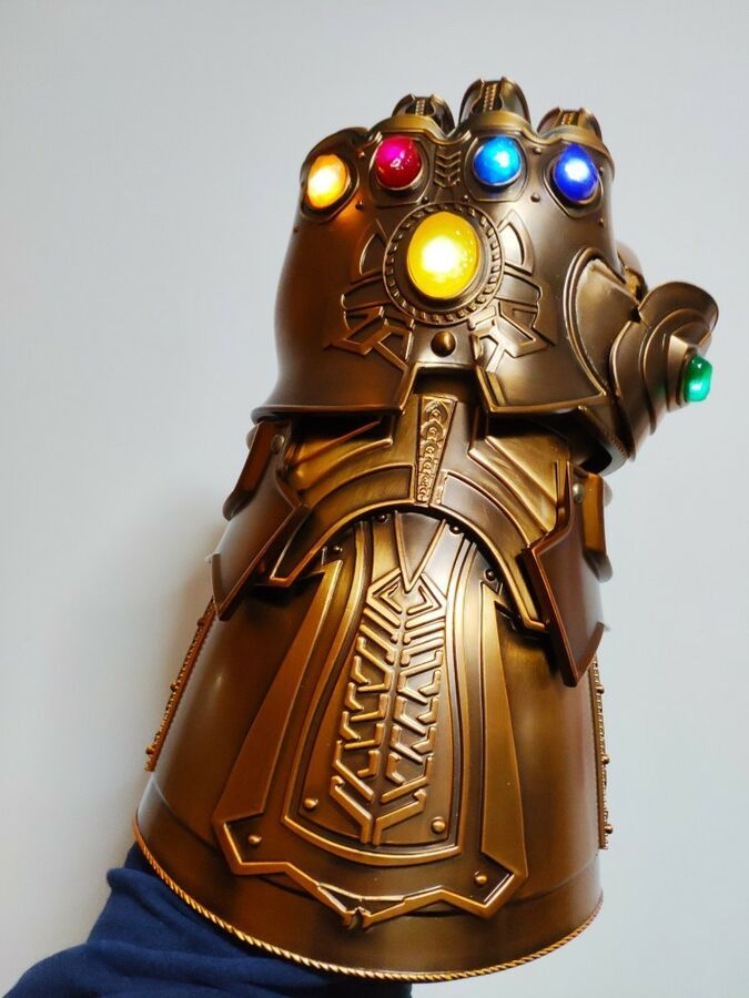 Hot HCMY Thanos Infinity Gauntlet Full Metal 1:1 Wearable Cosplay Statue LED