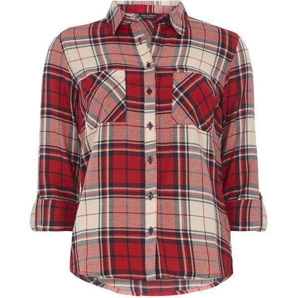 Dorothy Perkins Red and Navy Check Shirt (£18) ❤ liked on Polyvore featuring tops, red, long sleeve cotton tops, long sleeve shirts, navy long sleeve shirt, navy top and shirts & tops