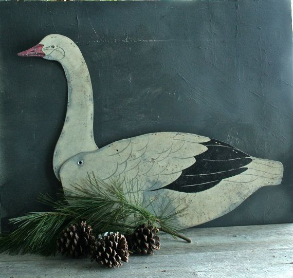 Vintage Waxed Cardboard Snow Goose Decoy by raggedrustyvintage