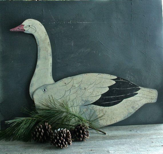 Vintage Waxed Cardboard Snow Goose Decoy by raggedrustyvintage