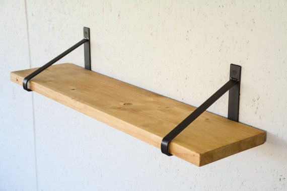 Rustic Wood Shelf With Steel Brackets 32 X 8 Light Oak Shelf Newest Design Brackets Dark Brass Brackets Home Shelving With Images Wood Shelves Light Oak Rustic Wood