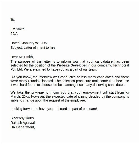 Intent To Hire Letter Beautiful Sample Letter Of Intent For A Job 7 Professional Cover Letter Template Cover Letter Template Free Simple Cover Letter Template
