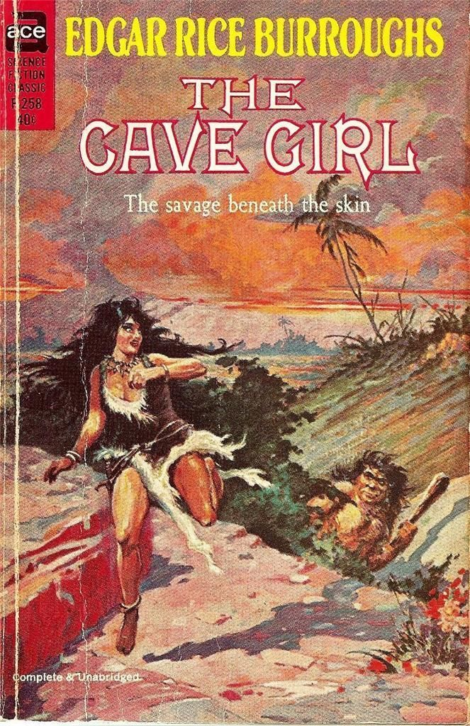 """F-258 EDGAR RICE BURROUGHS The Cave Girl (cover by Roy Krenkel Jr.; 1964; listed as """"complete and unabridged"""")"""