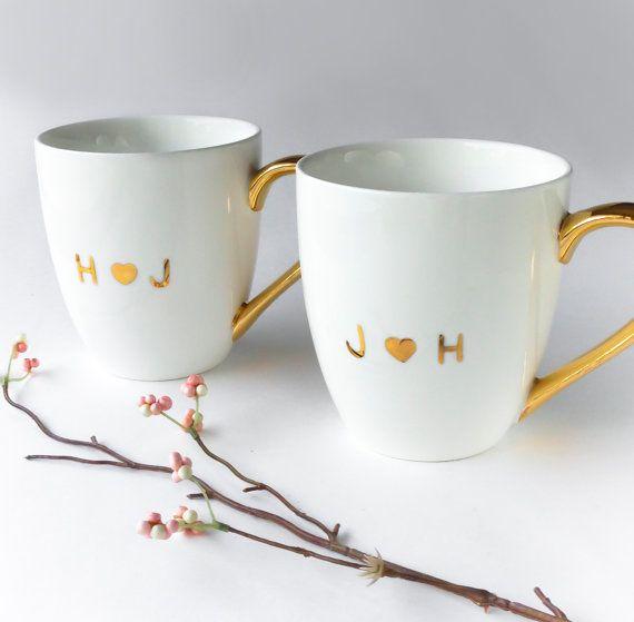 Pair of Monogrammed White and Gold Mug, Anniversary, Wedding Gift, Engagement Gift, Birthday Gift, Mugs for Couple