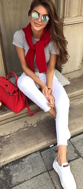 #fall #outfits Grey Top + White Skinny Jeans + White Sneakers