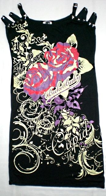 Top stampa rose con spalline borchiate