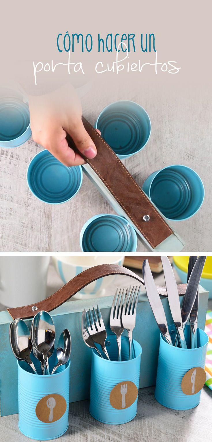 Dale un toque vintage a tu mesa con esta idea que te encantará, solo necesitas latas, un pedazo de madera y un cinturón que ya no utilices para crear este porta cubiertos que lo puedes llevar a cualquier lado.