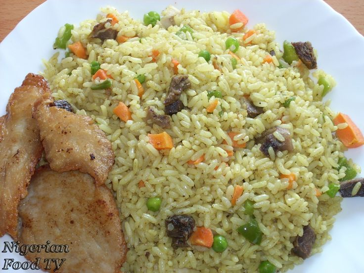 FRIED RICE. •500g long grain white Rice •500ml Chicken or Turkey stock/broth •100g Cow Liver (use beef as a substitute) •2 large Carrots •1 handful Green Peas or Runner Beans •1 large Green bell pepper •1 Onion bulb • 2-3 tablespoonful Curry Powder •1 teaspoonful Garlic Powder •½ tablespoonful Black or white pepper (optional) •2- 3 Cooking spoonful Vegetable Oil •2 stock cube or bouillon cube for Seasoning •Salt (to taste) For serving the Fried Rice: •500g Chicken/Turkey thighs or drumsticks…