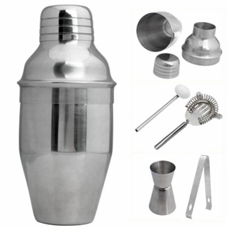 Set 5 250ml Shaker Kit Jigger Mixer Ice Strainer Clip Spoon Set for Cocktail Martini Drink Party Bar Tool Stainless Steel