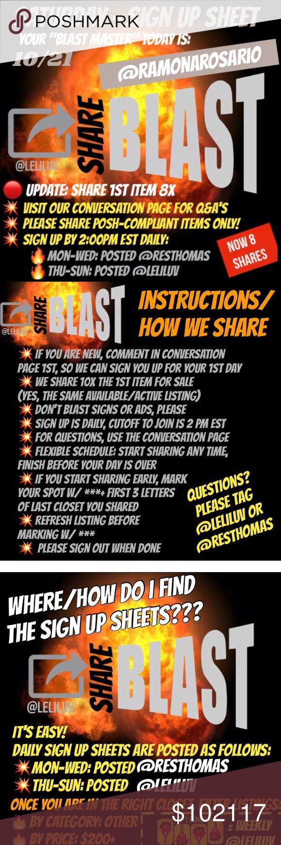 Sat 10/21 - Share-Blast sign up sheet See pictures for details! Other