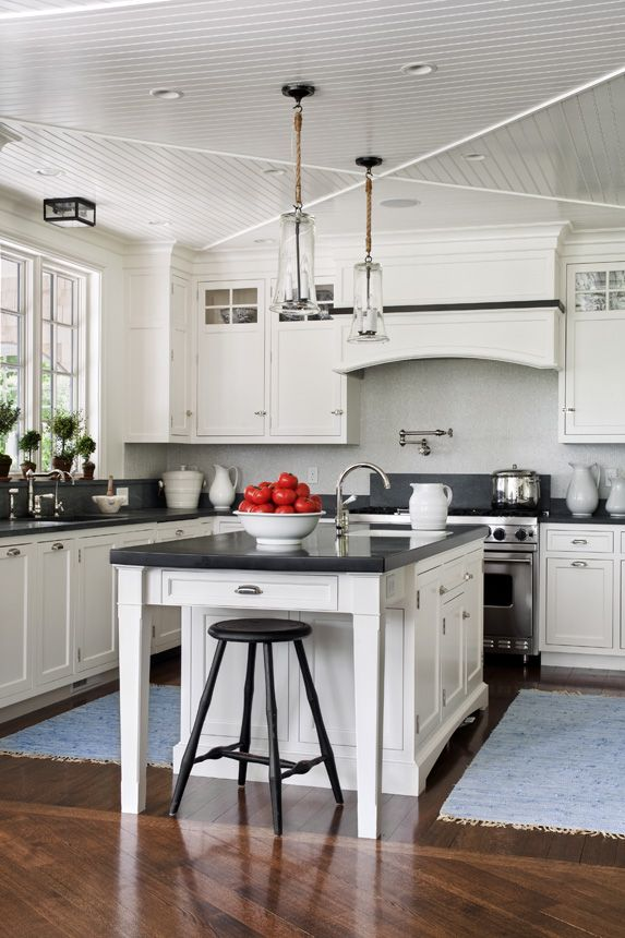 A Classic Shingle Style House In Manchester By The Sea. Navy Blue KitchensBlack  White ...