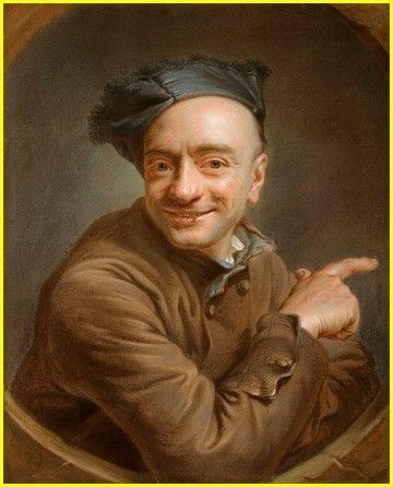 Autoportrait à l'index (ou L'Auteur qui rit), par Maurice-Quentin de La Tour (1737)