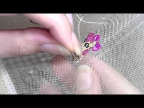 "Double sided stitch, ""My little pony"" with PAG embroidery technique - YouTube"
