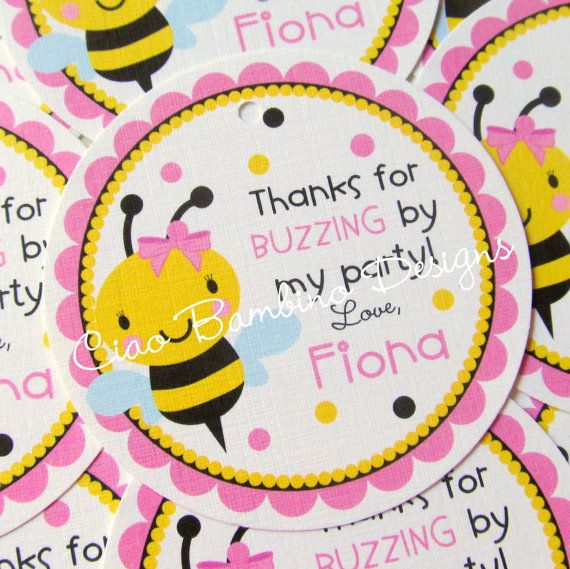 Pink Bumble Bee Birthday Party Favor Tags Or Stickers Personalized And Yellow BeeDay With Set Of 12