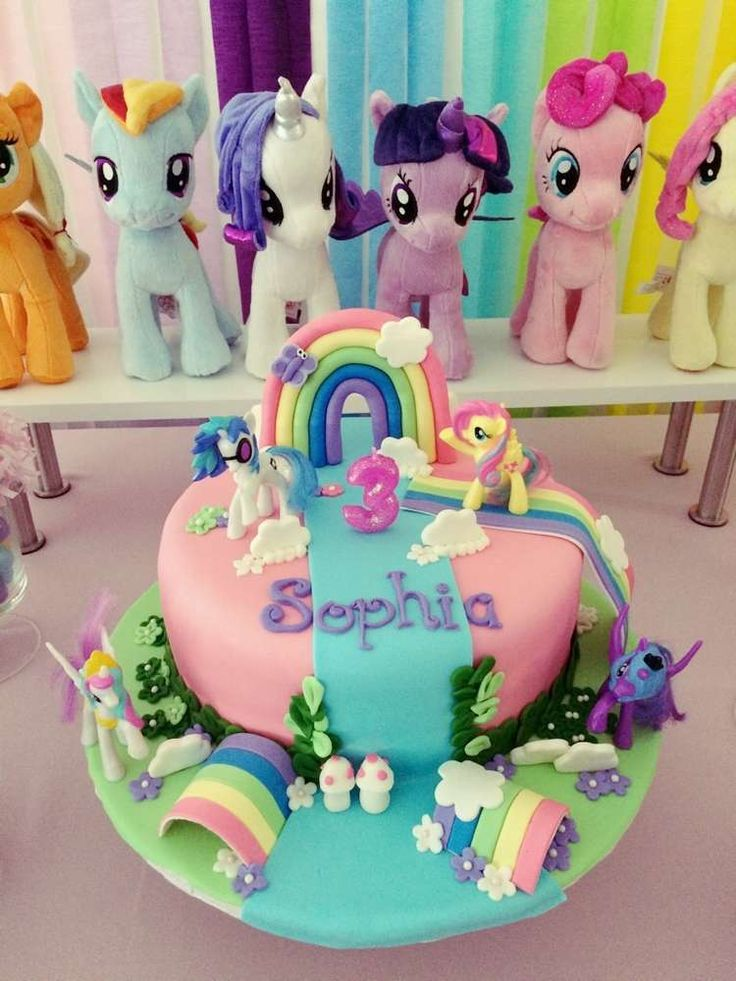 Rainbow cake at a My little pony birthday party! See more party ideas at CatchMyParty.com!